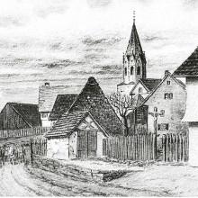 Historische Ortsansicht von Dunningen mit Kirchturm