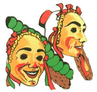 Raupenzunft Masken als Logo